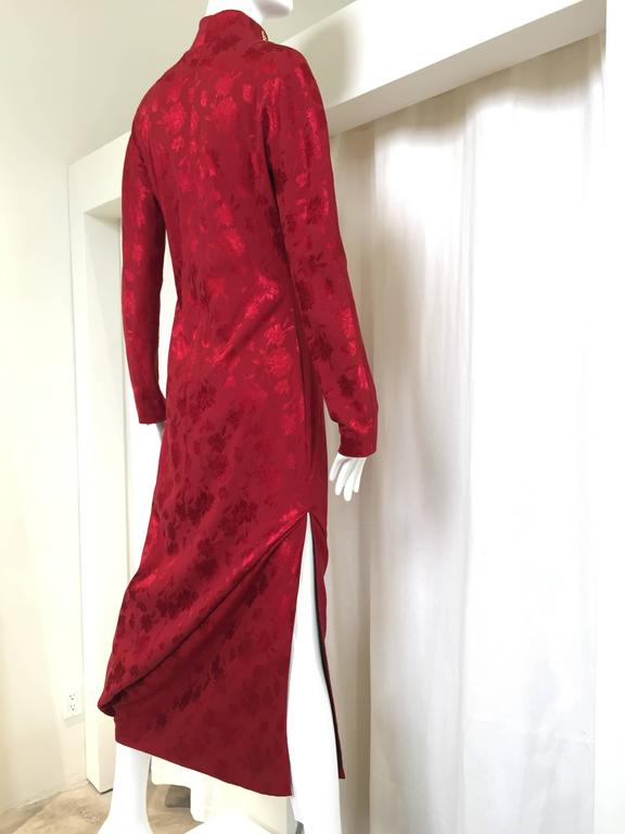 RARE Fall 1997 Christian Dior by John Galliano silk jacquard cheongsam gown In Excellent Condition For Sale In Beverly Hills, CA