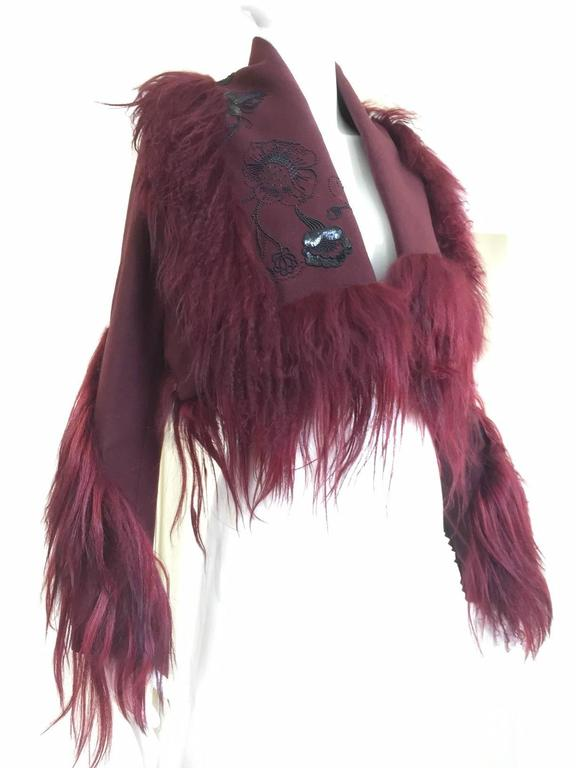 Christian Dior by John Galliano ox blood wool crop jacket For Sale 4