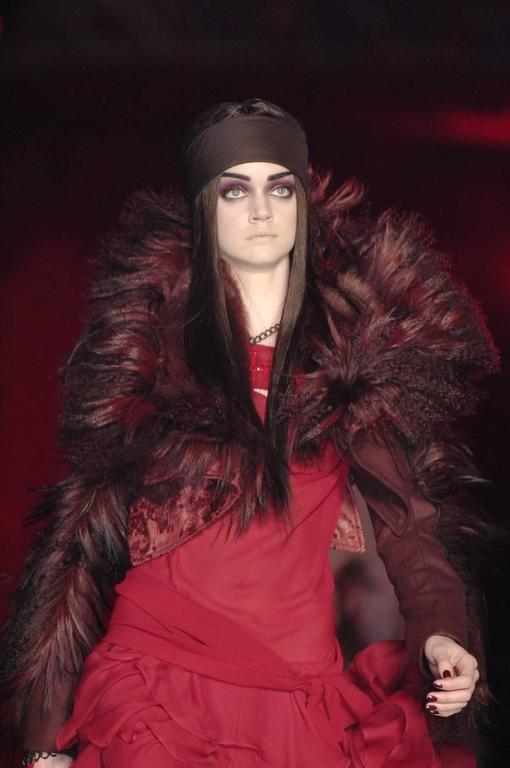 Beautiful ox blood wool and mongolian fur crop jacket designed by John Galliano for Dior. 
