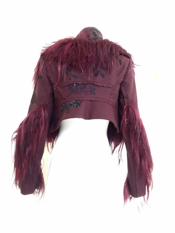 Christian Dior by John Galliano ox blood wool crop jacket In Excellent Condition For Sale In Beverly Hills, CA
