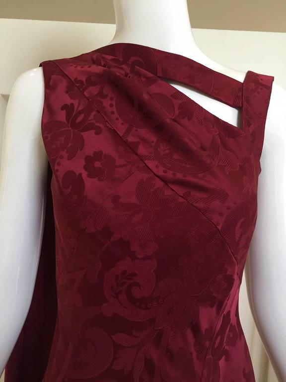 Vintage  Christian Dior by John Galliano maroon silk jacquard gown 2
