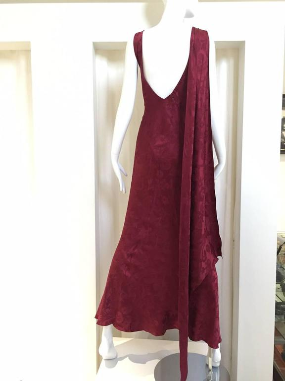 Vintage  Christian Dior by John Galliano maroon silk jacquard gown 3