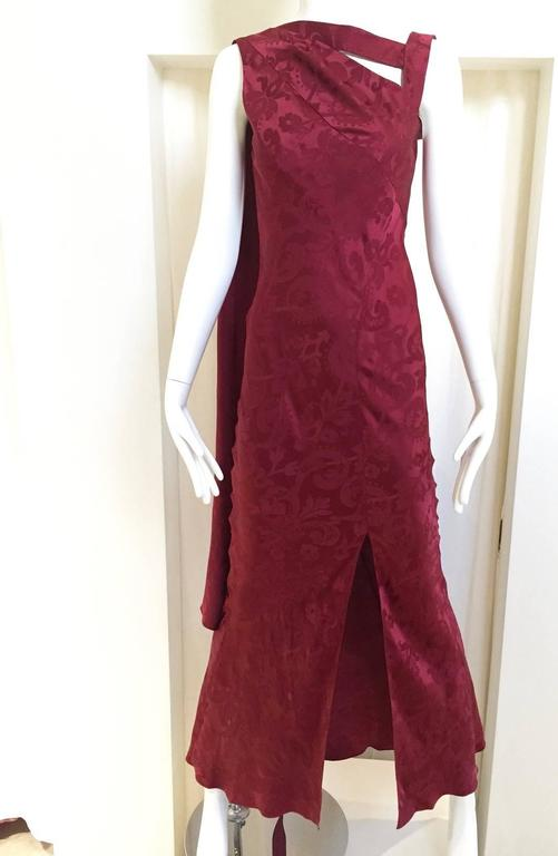 Vintage  Christian Dior by John Galliano maroon silk jacquard gown 6