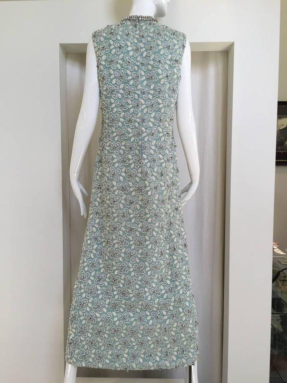 Gray 1960s Powder Blue Beaded Sleeveles Maxi Cocktail Dress with Rhinestones Collar For Sale