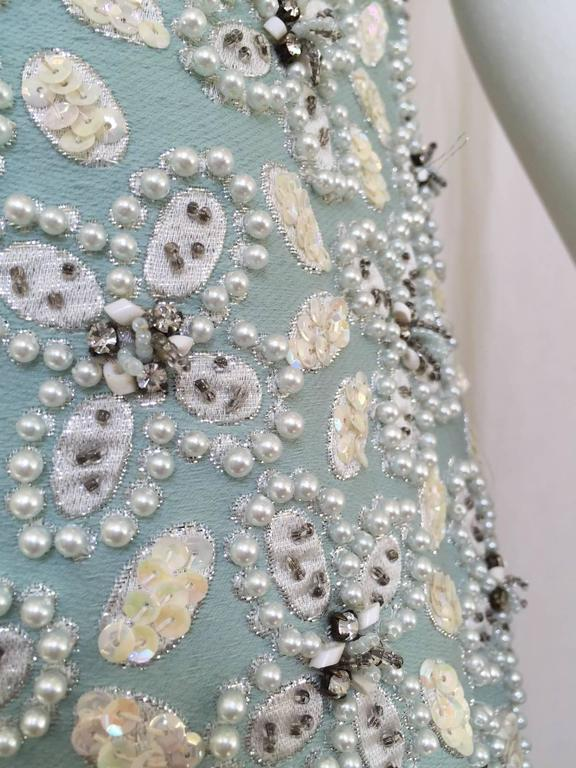 1960s Powder Blue Beaded Sleeveles Maxi Cocktail Dress with Rhinestones Collar In Good Condition For Sale In Beverly Hills, CA