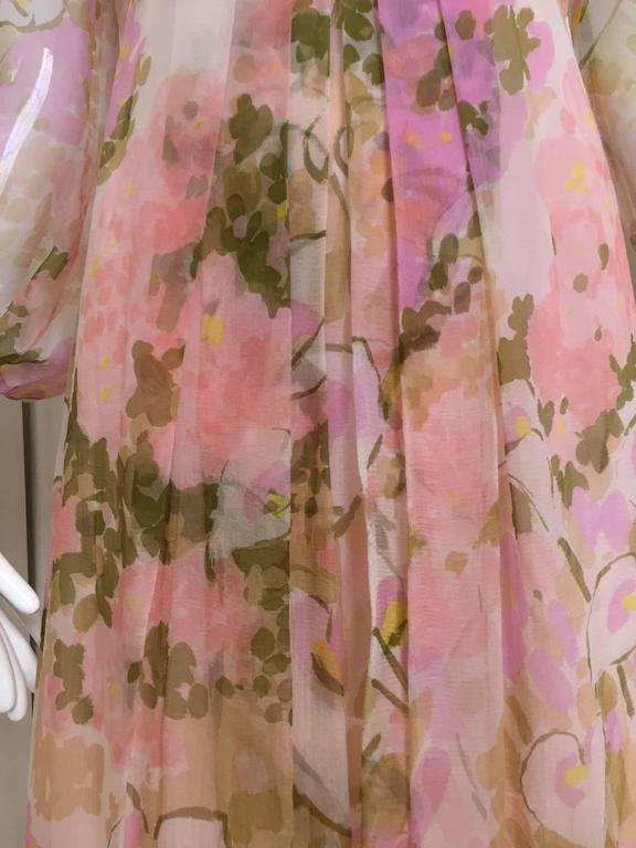 Beige 1970s Pink Water ColoFloral Print Silk Chiffon Long Sleeve Maxi Dress For Sale