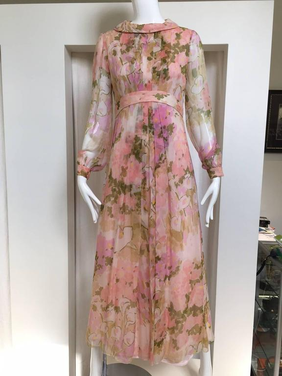 Women's 1970s Pink Water ColoFloral Print Silk Chiffon Long Sleeve Maxi Dress For Sale