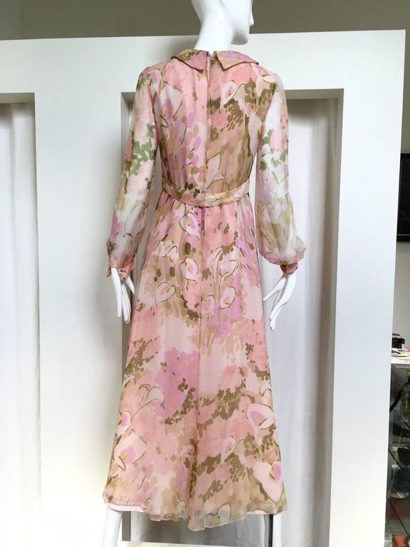 1970s Pink Water ColoFloral Print Silk Chiffon Long Sleeve Maxi Dress In Excellent Condition For Sale In Beverly Hills, CA