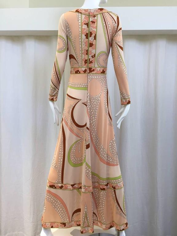 Orange 70s Bessie peach and brown print matte jersey maxi dress For Sale