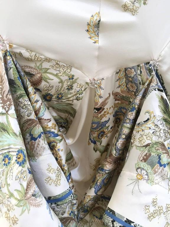 Women's Roberto Cavalli off white silk charmeuse floral print bias cut gown For Sale