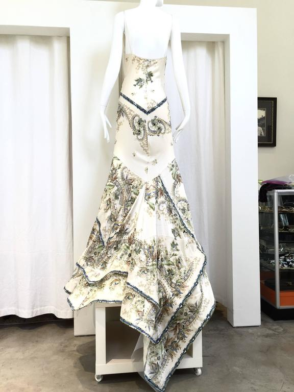 Beautiful Roberto Cavalli bias cut off white silk charmeuse print gown with blue, green, brown floral and  gold metallic butterfly and floral baroque print. Perfect Wedding Gown.  Fit Best US modern 2/4/6 Small - Medium  Bust: 34
