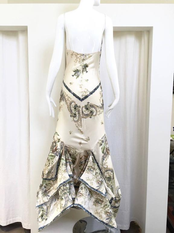 Gray Roberto Cavalli off white silk charmeuse floral print bias cut gown For Sale