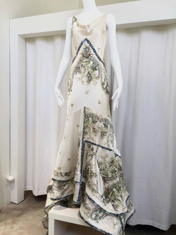 Roberto Cavalli off white silk charmeuse floral print bias cut gown For Sale 3