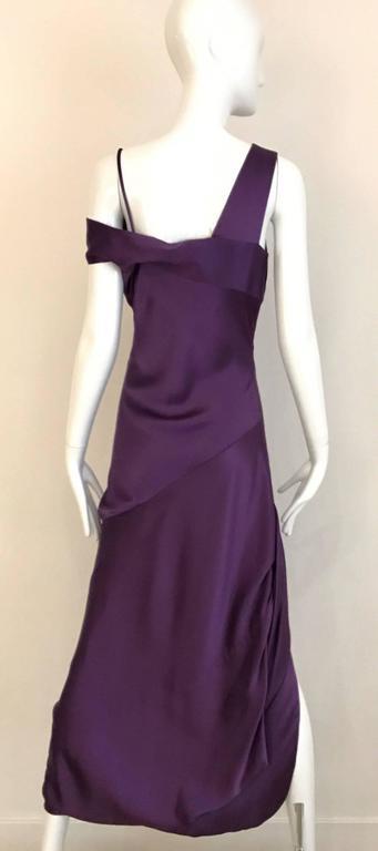 Black ALEXANDER MCQUEEN Violet Grecian Silk Gown with Asymmetrical Shoulder For Sale