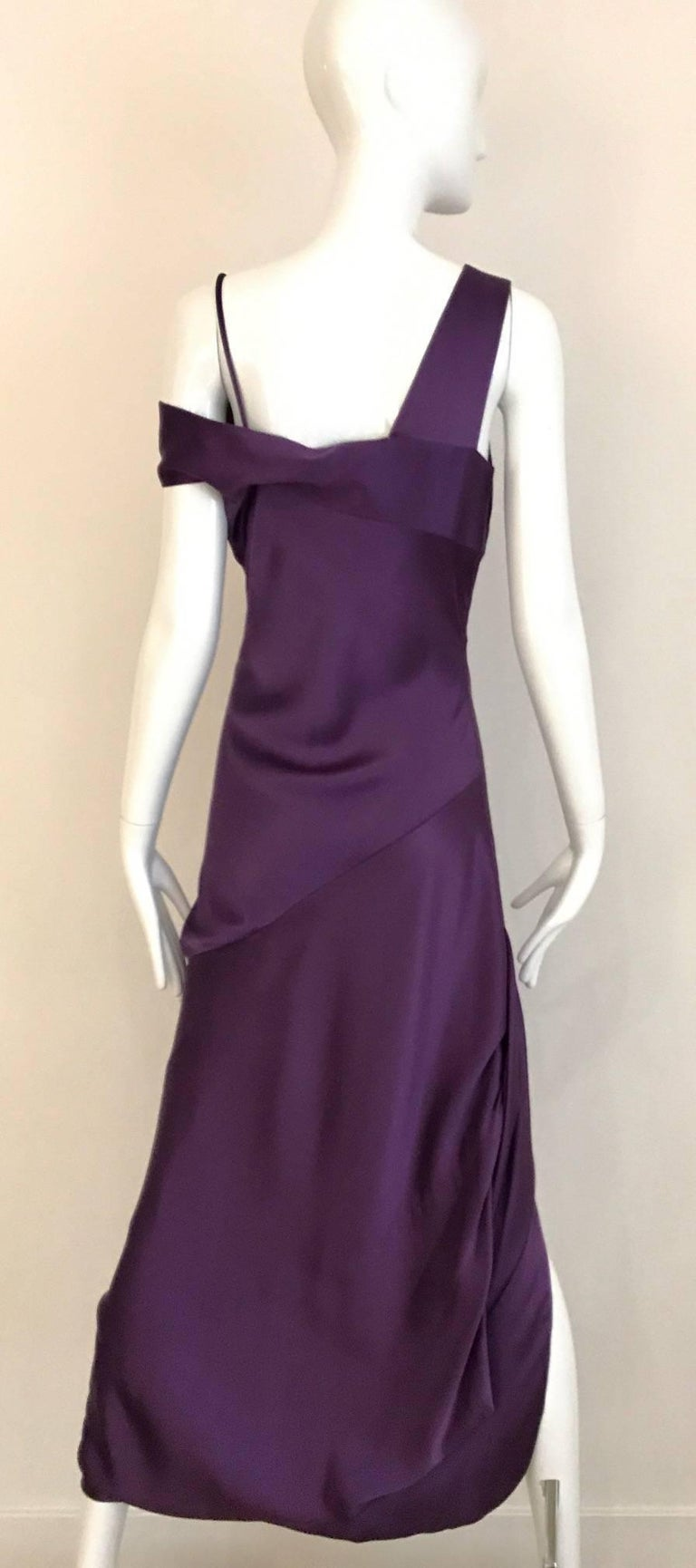 Black ALEXANDER MCQUEEN Violet Grecian Silk Gown with Asymmetrical Shoulder For Sale