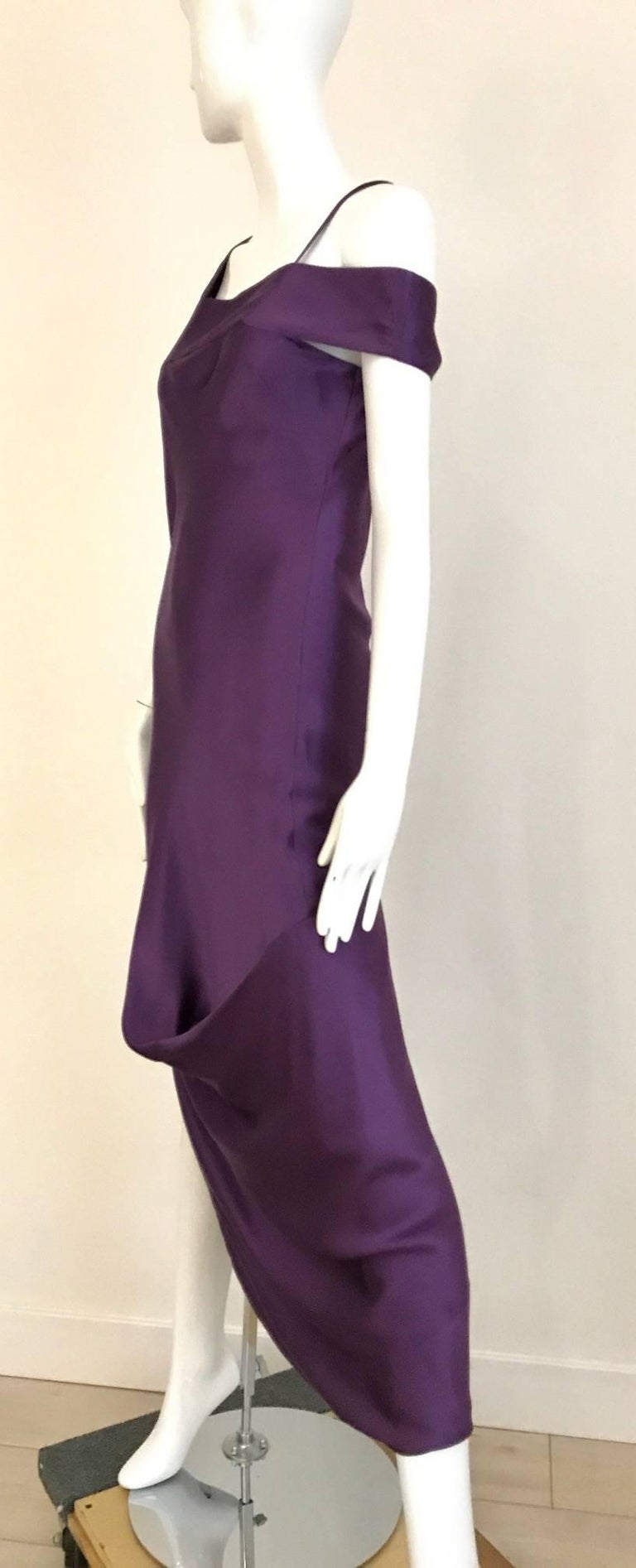 Women's ALEXANDER MCQUEEN Violet Grecian Silk Gown with Asymmetrical Shoulder For Sale