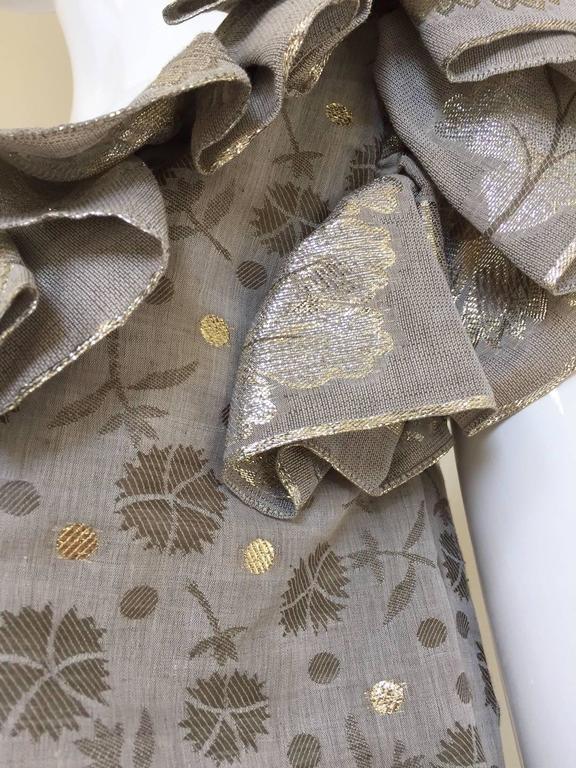 70s Oscar De La Renta grey and gold metallic linen 2 pcs For Sale 3