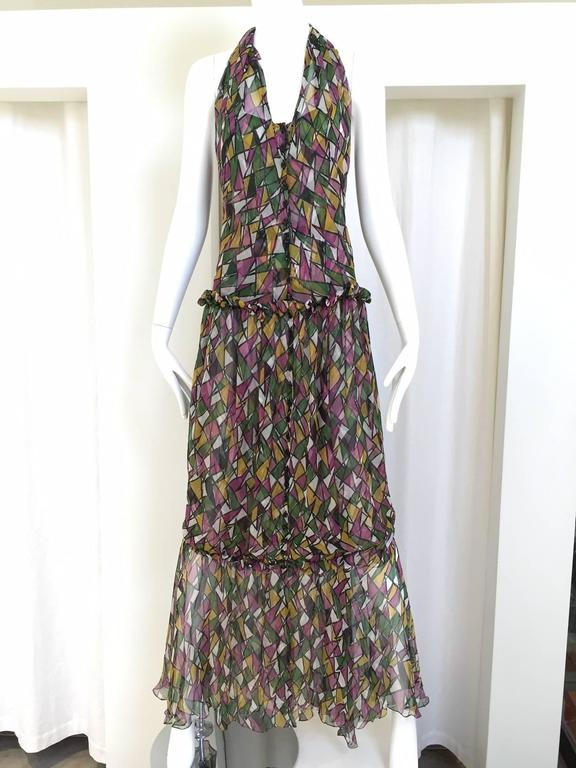 Gray Vintage Yves Saint Laurent multi color silk halter print maxi cocktail dress For Sale