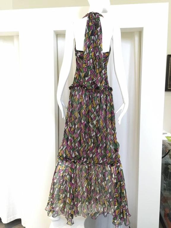 Vintage Yves Saint Laurent multi color silk halter print maxi cocktail dress In Good Condition For Sale In Beverly Hills, CA