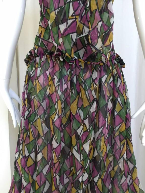 Women's Vintage Yves Saint Laurent multi color silk halter print maxi cocktail dress For Sale