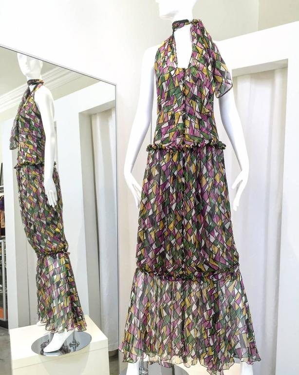 Vintage Yves Saint Laurent by Tom Ford multi color print( purple, green, yellow and white)  diamond shape silk halter cocktail dress. Corset bodice and layered by silk sash that ties as halter.  dress. size: 2 . XS to Small Bust: 32""