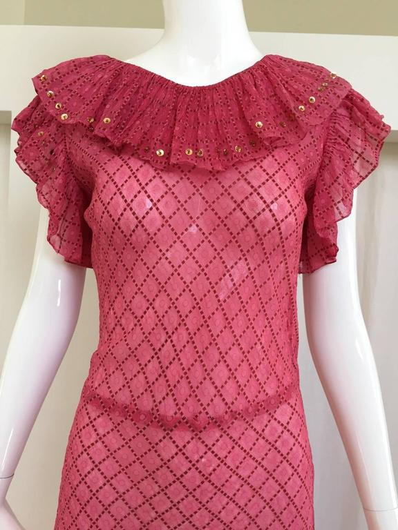 1930s Pink silk dress In Good Condition For Sale In Beverly Hills, CA