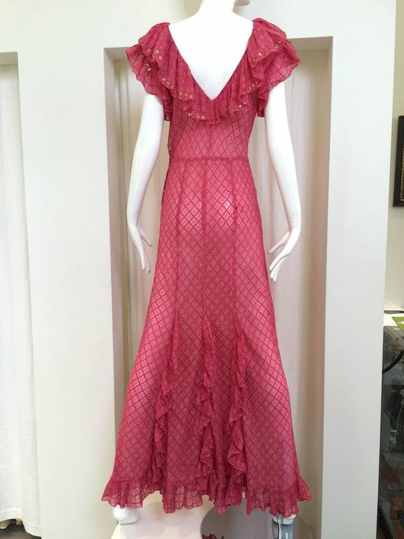 """1930s Pink silk dress with gold sequins. Bust: 34/ Hip: 34"""" size: 4"""