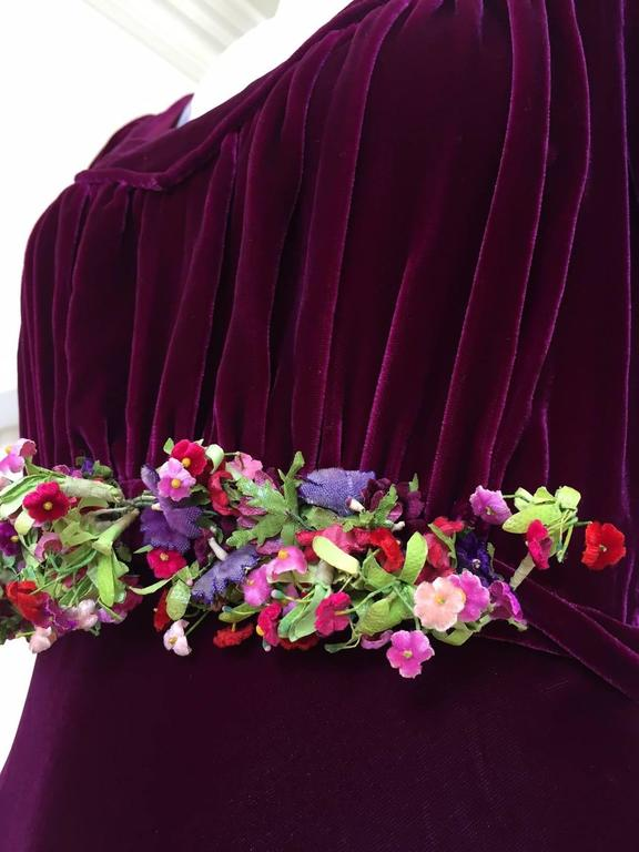 1930s Maroon silk velvet gown with floral applique 2