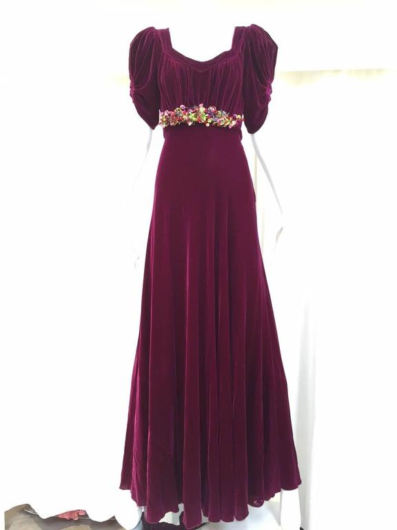 1930s Maroon silk velvet gown with floral applique 4