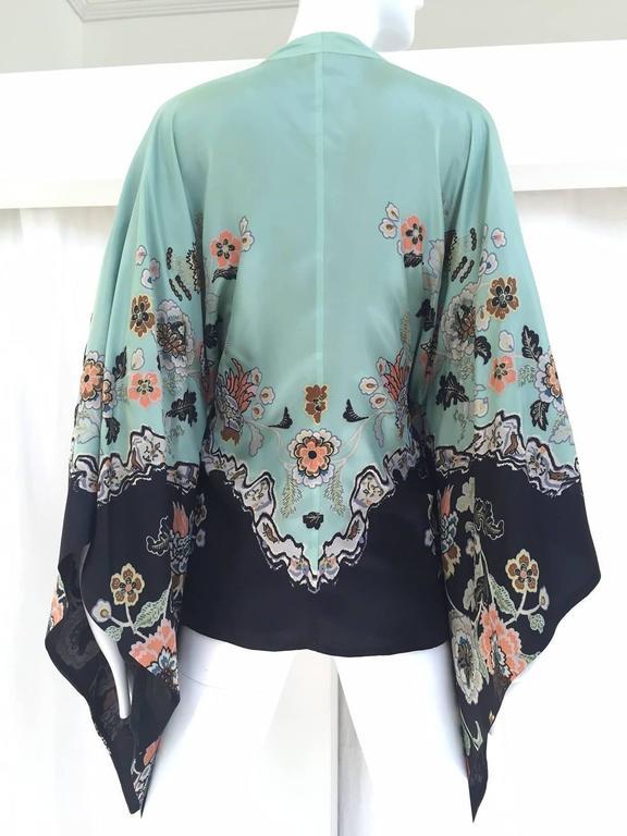 2000s Roberto Cavalli mint green silk print kimono top 2