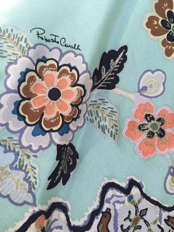 2000s Roberto Cavalli mint green silk print kimono top 6