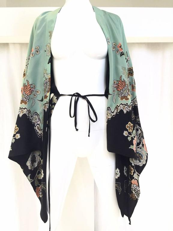 2000s Roberto Cavalli mint green silk print kimono top 4