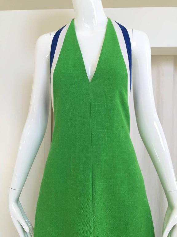 70s Green linen halter maxi dress 2