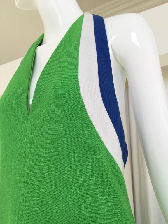 70s Green linen halter maxi dress 4