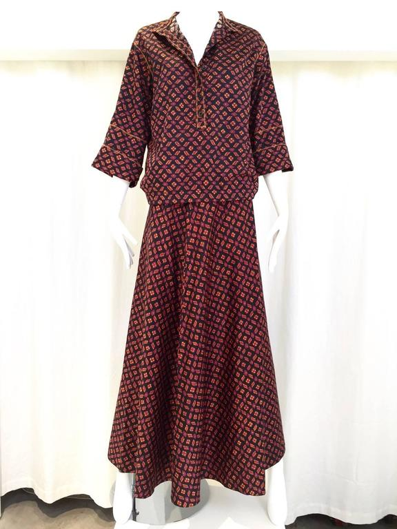 Brown 1970s Anne Klein Burgundy and Black Ikat print Blouse and Skirt set For Sale