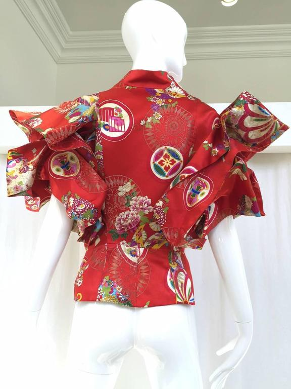 Rare CHRISTIAN DIOR Red Silk Brocade Chinese Inpired Jacket Top 2