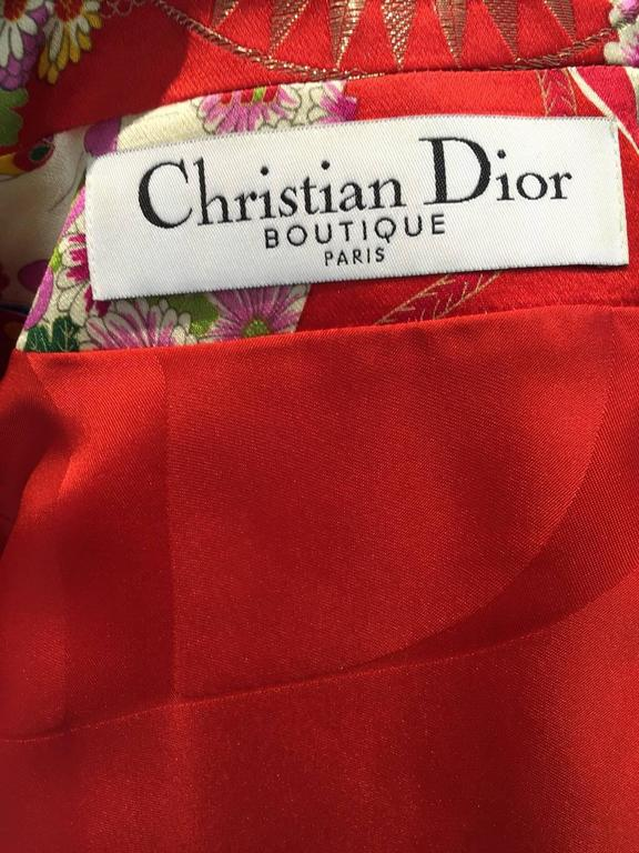 Rare CHRISTIAN DIOR Red Silk Brocade Chinese Inpired Jacket Top 3