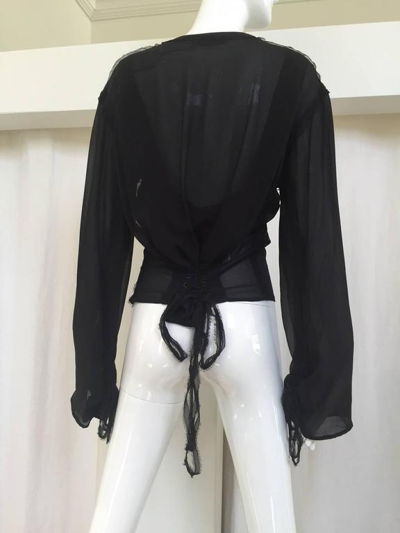 Yves Saint Laurent by Tom Ford black silk blouse 2