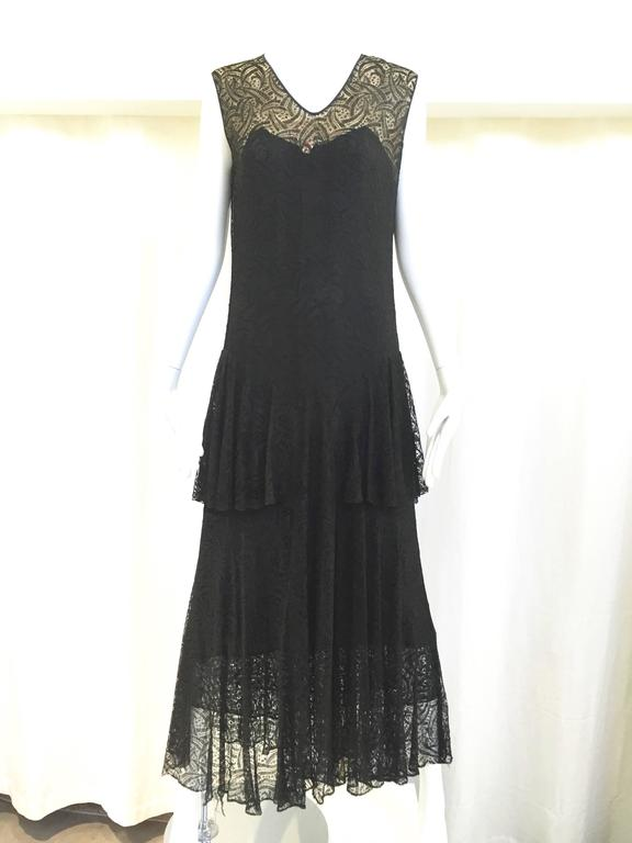 1930s black lace dress with cardigan jacket and belt
