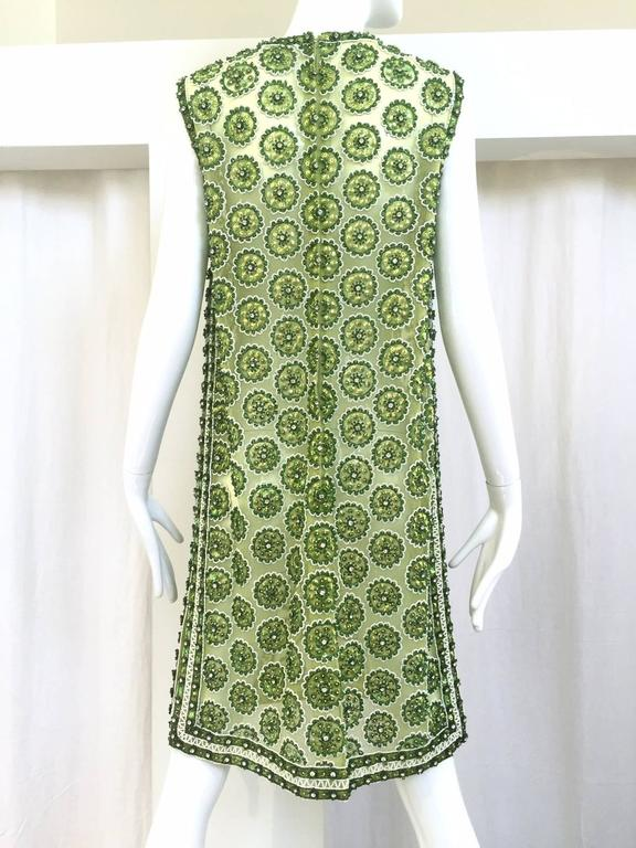 1960s Green mesh rhinestones dress 2