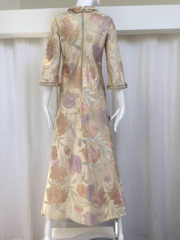 "Beautiful Cardinali silk brocade dress. 3/4 sleeve. Bust: 32""/ Waist: 30""/  Hip:34"" / length: 52"""