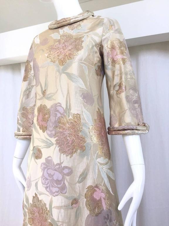 Women's 1960s CARDINALI silk brocade jacquard dress For Sale