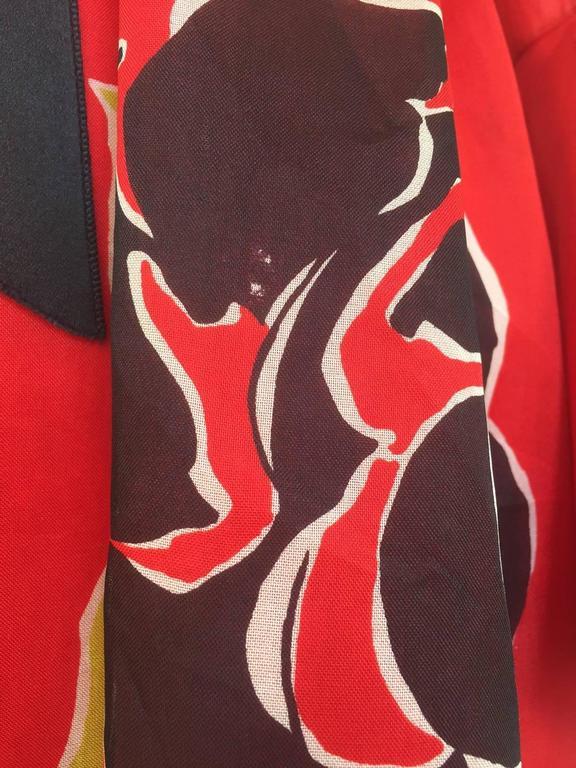 1970S SARMI Red Silk Bold Floral Print Maxi Dress 5