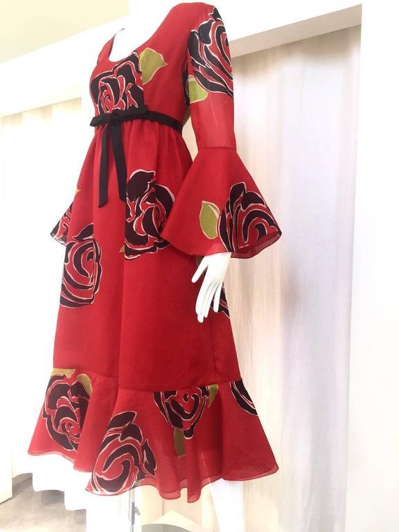 1970S SARMI Red Silk Bold Floral Print Maxi Dress 2
