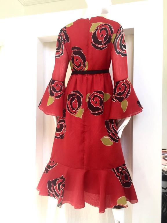 1970S SARMI Red Silk Bold Floral Print Maxi Dress 3