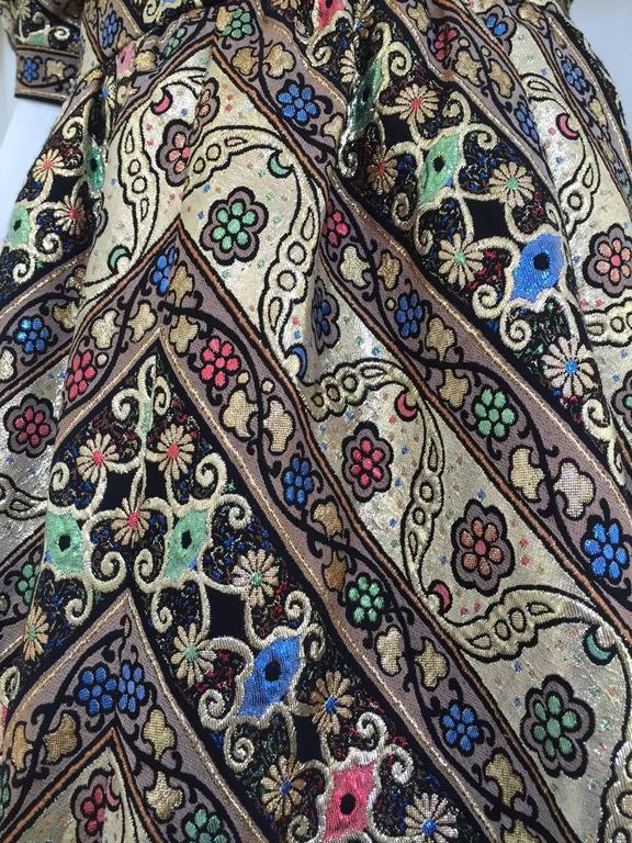 1980s LEONARD Paris Metallic Floral Broacade Gown with Puff Sleeve 5