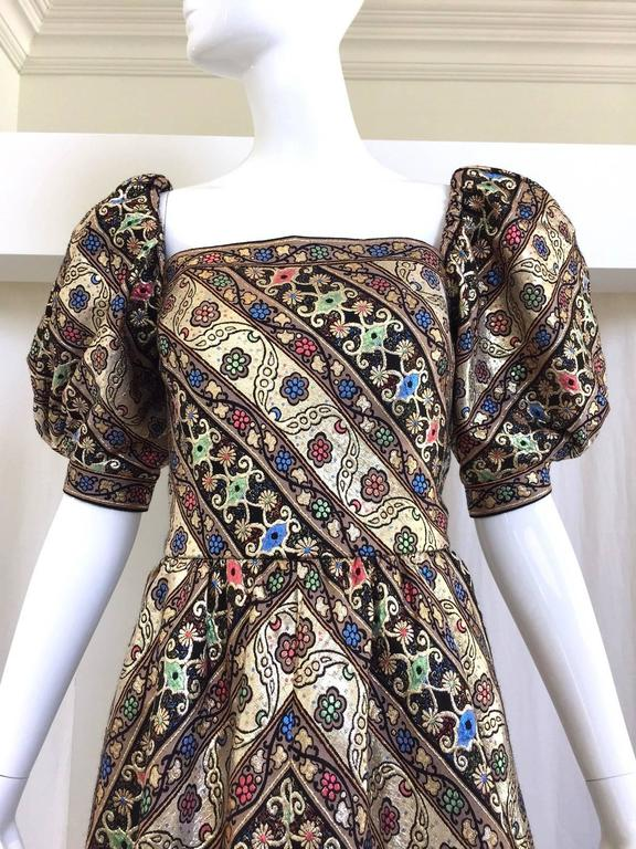 1980s LEONARD Paris Metallic Floral Broacade Gown with Puff Sleeve 3