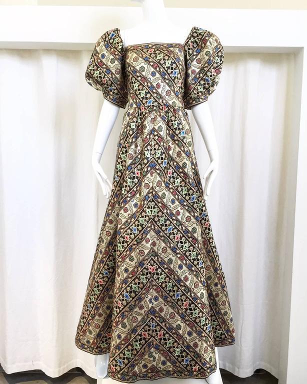1980s LEONARD Paris Metallic Floral Broacade Gown with Puff Sleeve 7