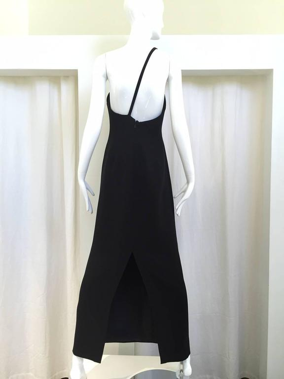 90s Giorgio Armani black silk asymetrical dress In Good Condition For Sale In Beverly Hills, CA