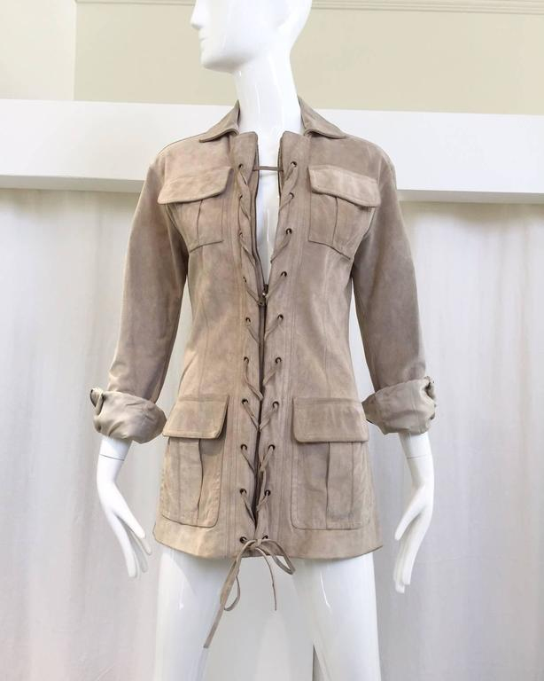 """2000s Iconic YSL suede safari inspired jacket. zip up and lace. Perfect vacation suede jacket. Small Bust: 34""""/ Waist: 32""""/ Hip: 36""""/ sleeve: 24"""" Size: 4"""